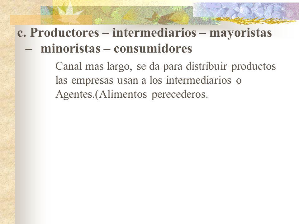 c. Productores – intermediarios – mayoristas –
