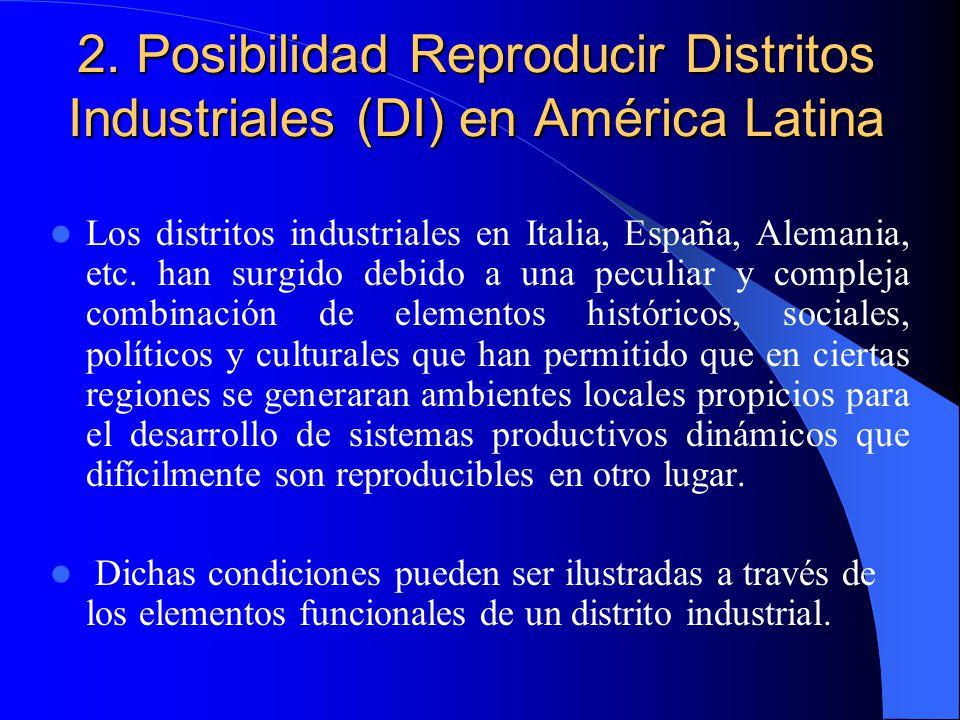 2. Posibilidad Reproducir Distritos Industriales (DI) en América Latina