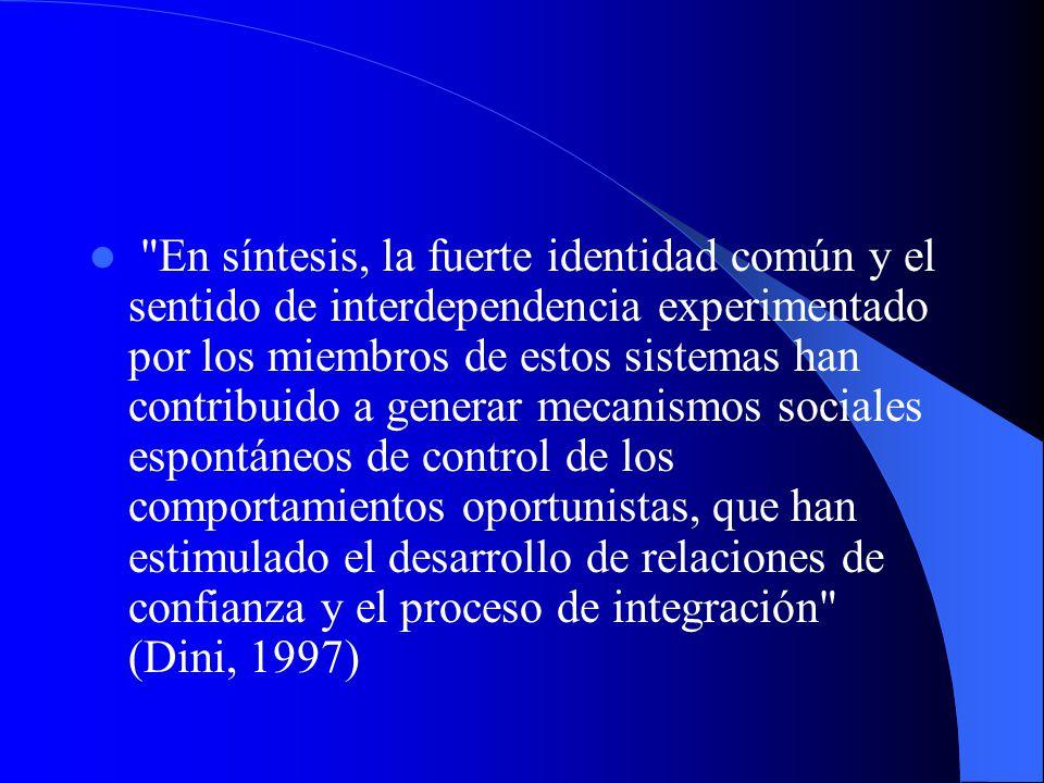 En síntesis, la fuerte identidad común y el sentido de interdependencia experimentado por los miembros de estos sistemas han contribuido a generar mecanismos sociales espontáneos de control de los comportamientos oportunistas, que han estimulado el desarrollo de relaciones de confianza y el proceso de integración (Dini, 1997)