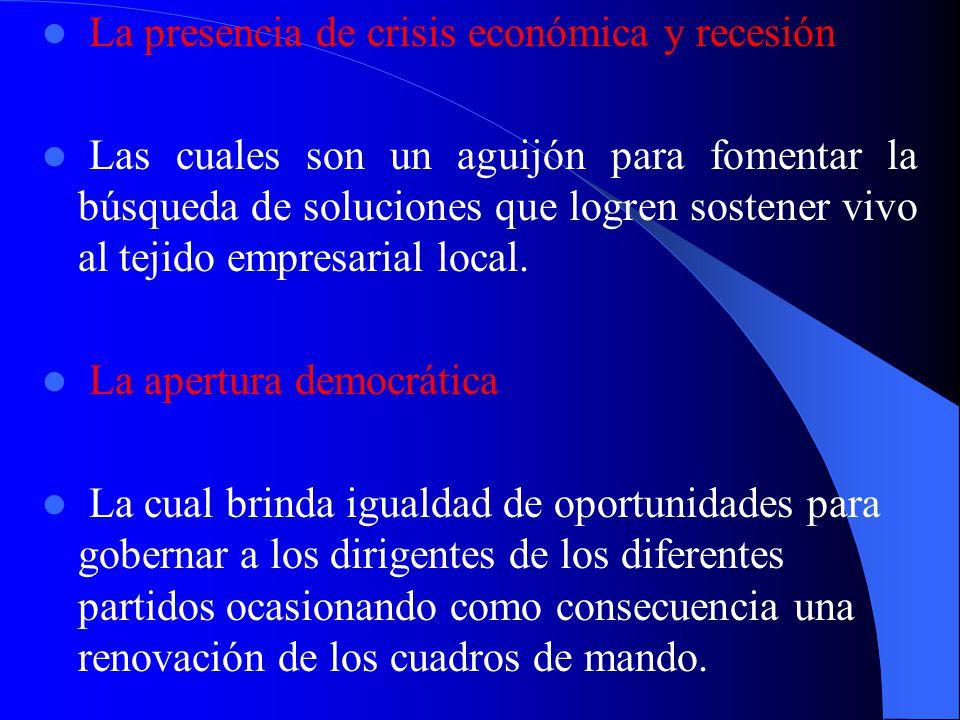 La presencia de crisis económica y recesión