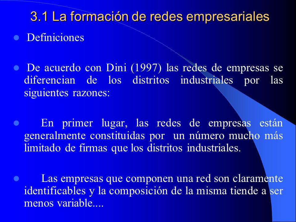 3.1 La formación de redes empresariales