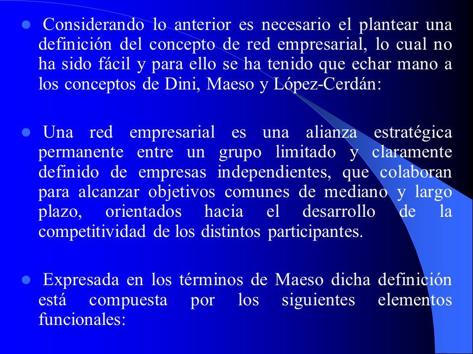 Considerando lo anterior es necesario el plantear una definición del concepto de red empresarial, lo cual no ha sido fácil y para ello se ha tenido que echar mano a los conceptos de Dini, Maeso y López-Cerdán: