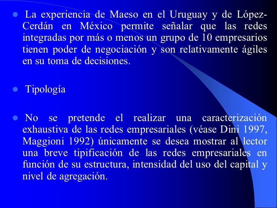La experiencia de Maeso en el Uruguay y de López-Cerdán en México permite señalar que las redes integradas por más o menos un grupo de 10 empresarios tienen poder de negociación y son relativamente ágiles en su toma de decisiones.