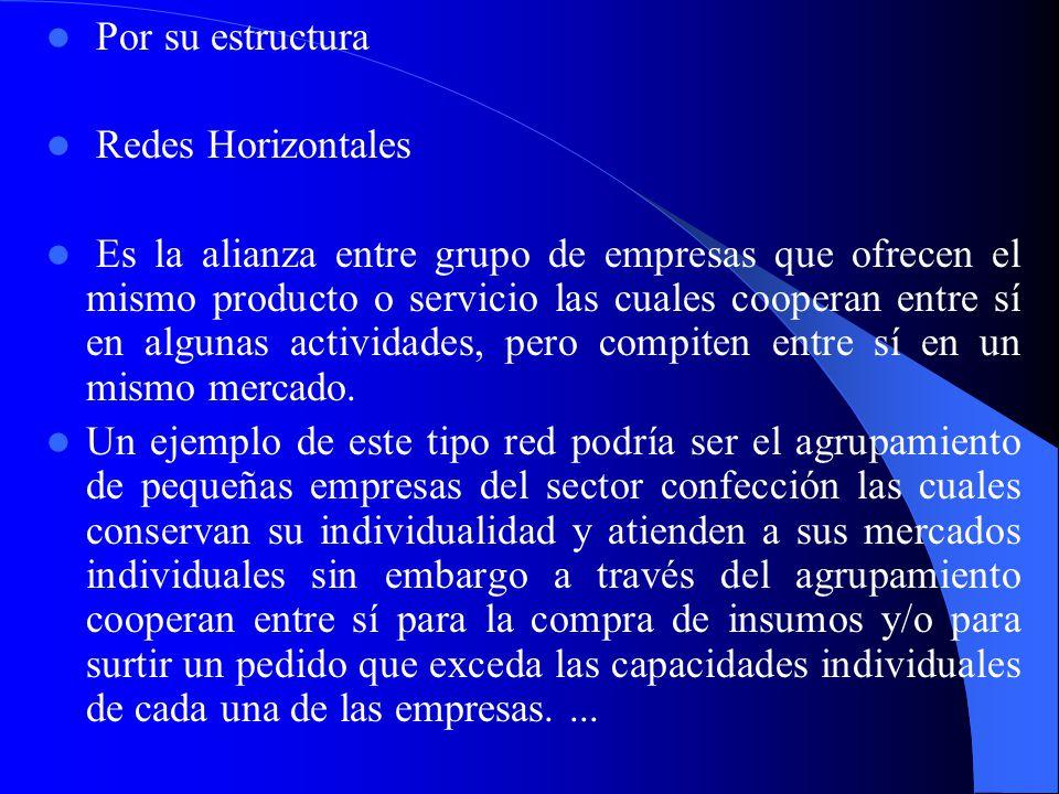 Por su estructura Redes Horizontales.