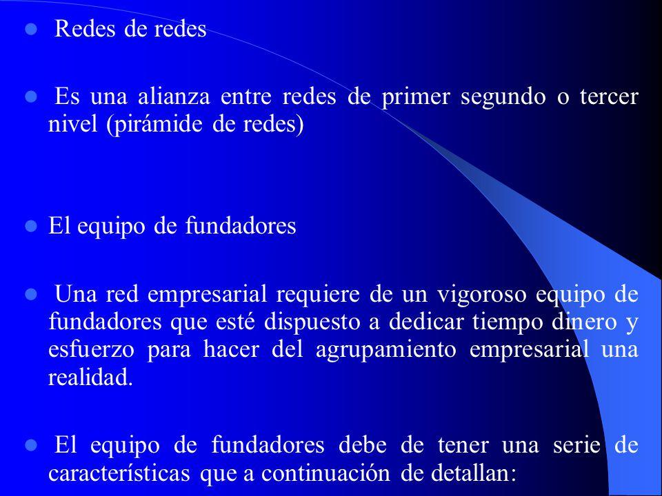 Redes de redes Es una alianza entre redes de primer segundo o tercer nivel (pirámide de redes) El equipo de fundadores.