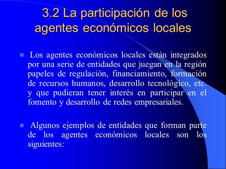 3.2 La participación de los agentes económicos locales