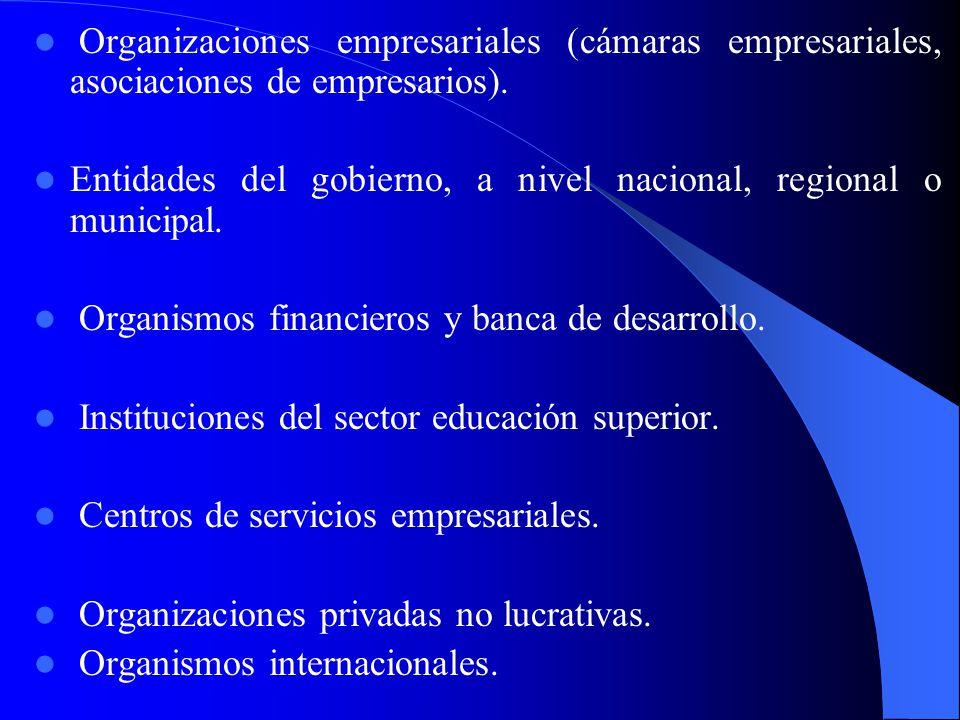 Organizaciones empresariales (cámaras empresariales, asociaciones de empresarios).