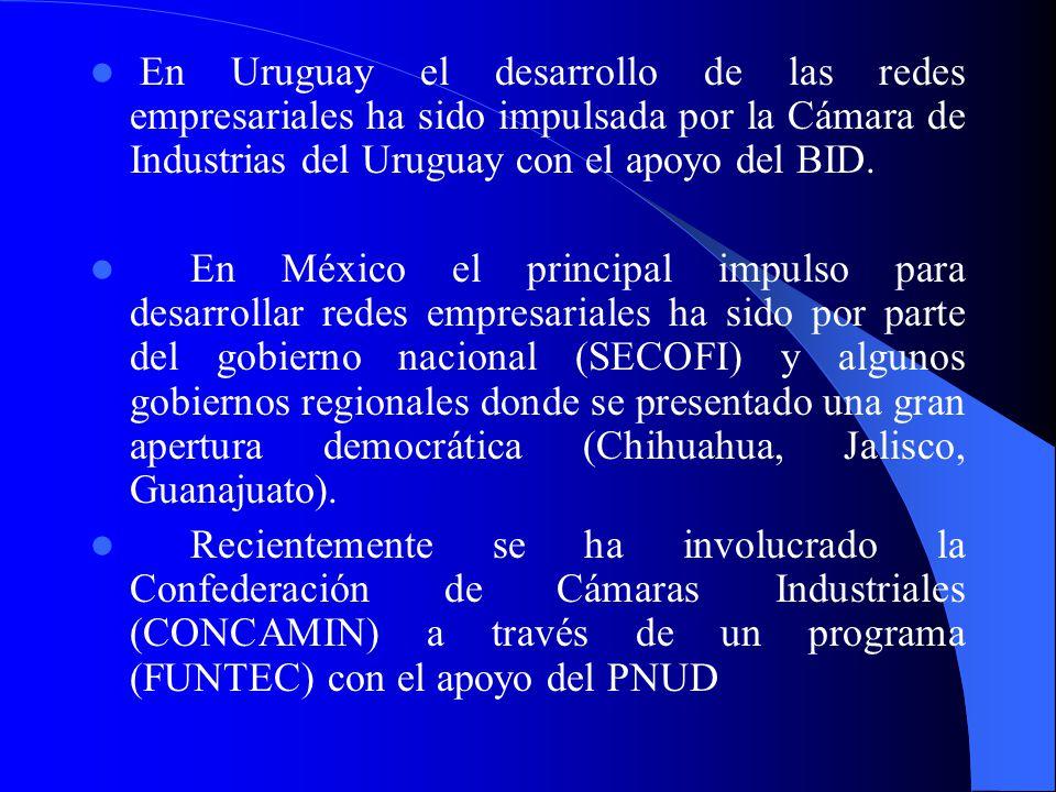 En Uruguay el desarrollo de las redes empresariales ha sido impulsada por la Cámara de Industrias del Uruguay con el apoyo del BID.