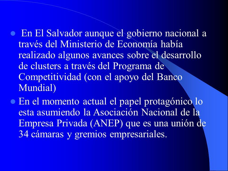 En El Salvador aunque el gobierno nacional a través del Ministerio de Economía había realizado algunos avances sobre el desarrollo de clusters a través del Programa de Competitividad (con el apoyo del Banco Mundial)