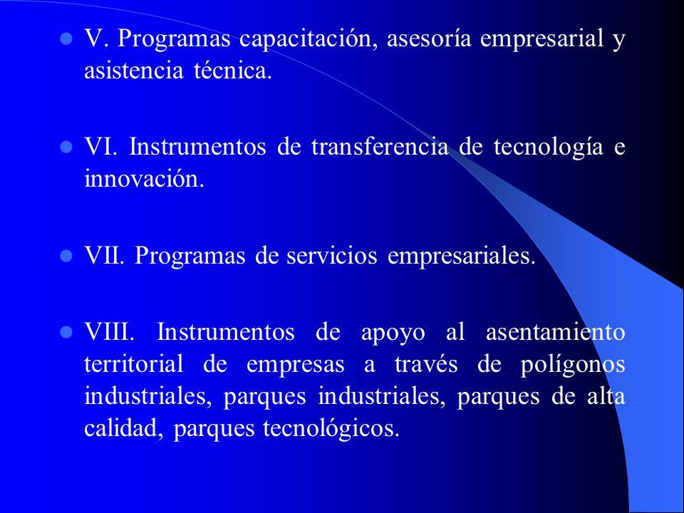 V. Programas capacitación, asesoría empresarial y asistencia técnica.