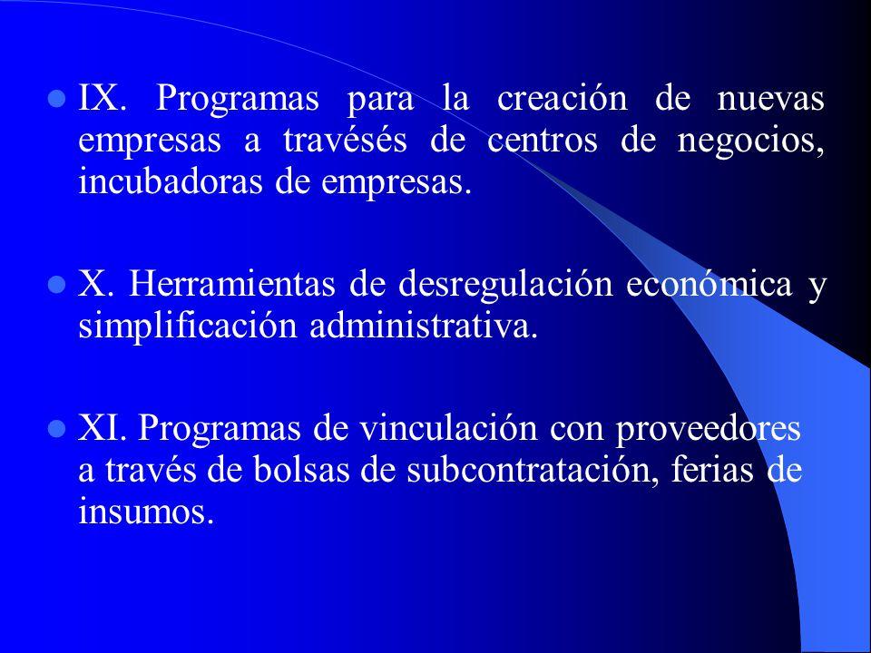 IX. Programas para la creación de nuevas empresas a travésés de centros de negocios, incubadoras de empresas.