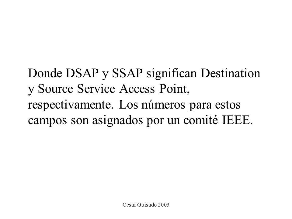 Donde DSAP y SSAP significan Destination y Source Service Access Point, respectivamente. Los números para estos campos son asignados por un comité IEEE.