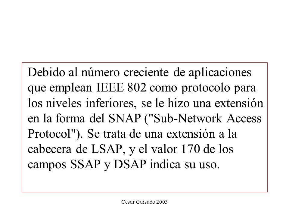 Debido al número creciente de aplicaciones que emplean IEEE 802 como protocolo para los niveles inferiores, se le hizo una extensión en la forma del SNAP ( Sub-Network Access Protocol ). Se trata de una extensión a la cabecera de LSAP, y el valor 170 de los campos SSAP y DSAP indica su uso.