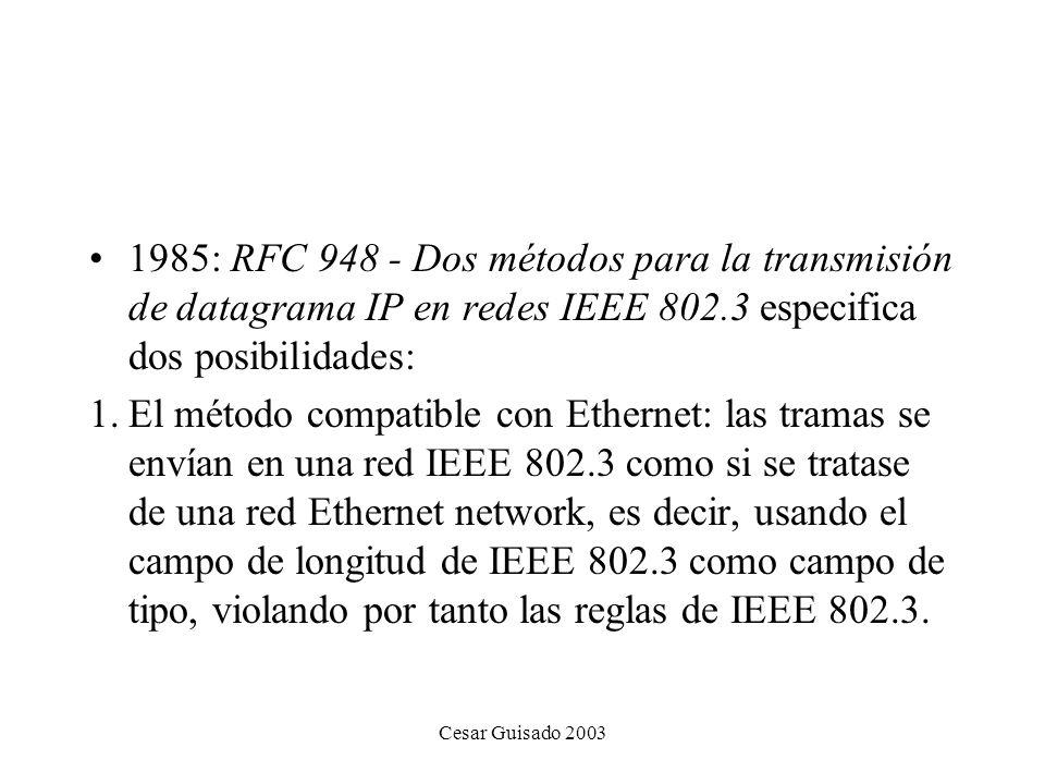 1985: RFC 948 - Dos métodos para la transmisión de datagrama IP en redes IEEE 802.3 especifica dos posibilidades: