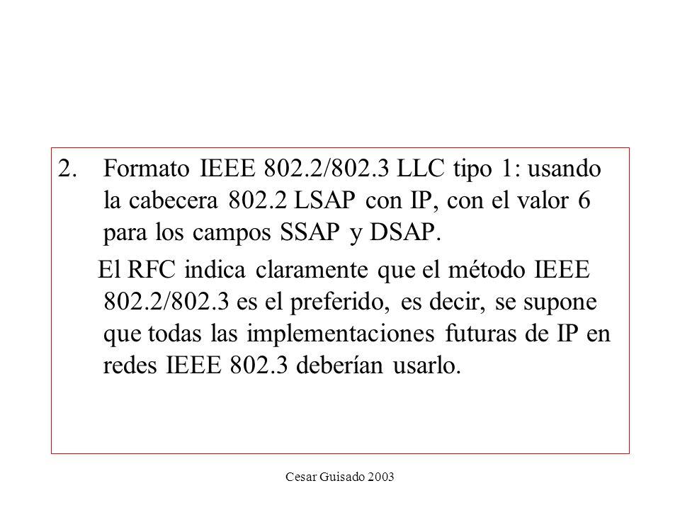 Formato IEEE 802. 2/802. 3 LLC tipo 1: usando la cabecera 802