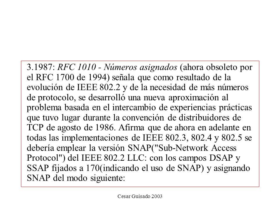 1987: RFC 1010 - Números asignados (ahora obsoleto por el RFC 1700 de 1994) señala que como resultado de la evolución de IEEE 802.2 y de la necesidad de más números de protocolo, se desarrolló una nueva aproximación al problema basada en el intercambio de experiencias prácticas que tuvo lugar durante la convención de distribuidores de TCP de agosto de 1986. Afirma que de ahora en adelante en todas las implementaciones de IEEE 802.3, 802.4 y 802.5 se debería emplear la versión SNAP( Sub-Network Access Protocol ) del IEEE 802.2 LLC: con los campos DSAP y SSAP fijados a 170(indicando el uso de SNAP) y asignando SNAP del modo siguiente: