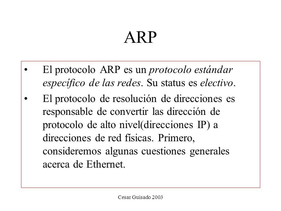 ARP El protocolo ARP es un protocolo estándar específico de las redes. Su status es electivo.