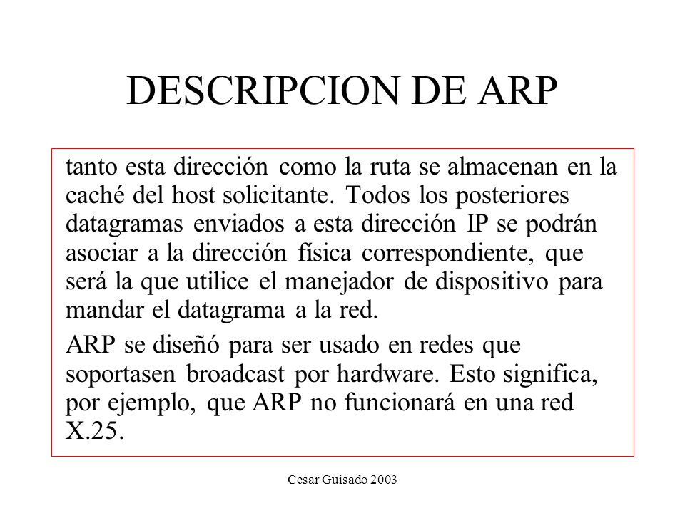 DESCRIPCION DE ARP