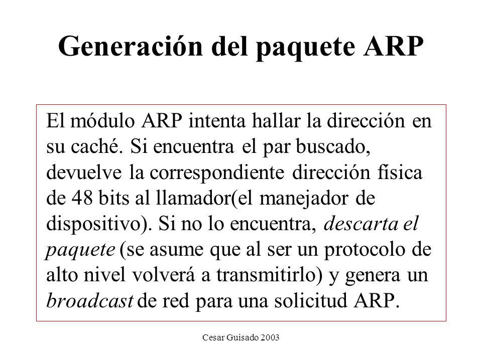 Generación del paquete ARP