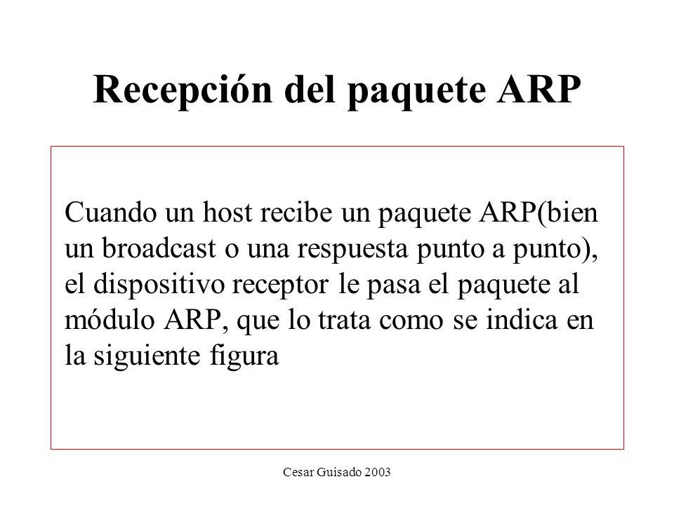 Recepción del paquete ARP