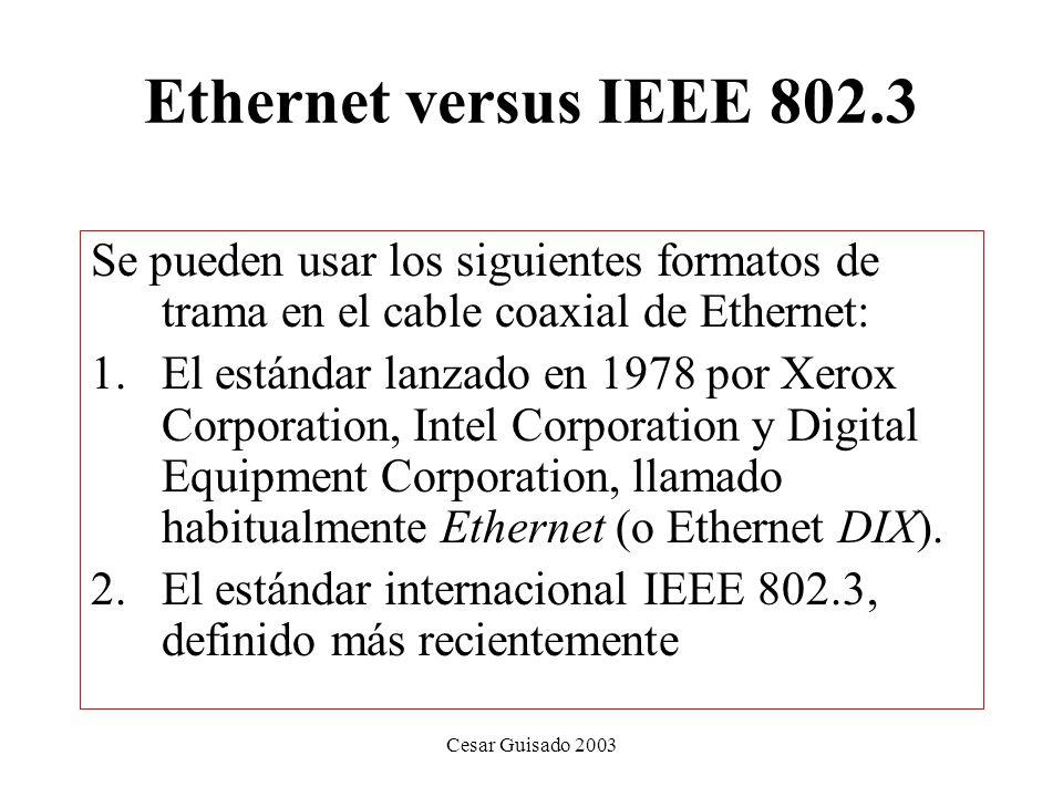 Ethernet versus IEEE 802.3 Se pueden usar los siguientes formatos de trama en el cable coaxial de Ethernet: