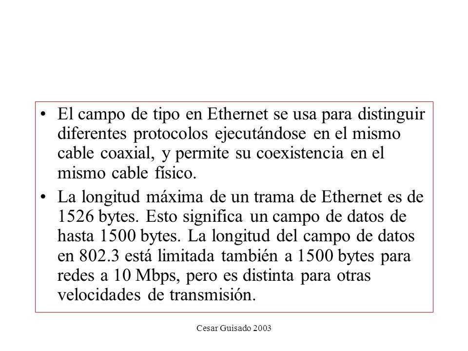 El campo de tipo en Ethernet se usa para distinguir diferentes protocolos ejecutándose en el mismo cable coaxial, y permite su coexistencia en el mismo cable físico.
