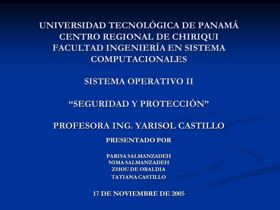 UNIVERSIDAD TECNOLÓGICA DE PANAMÁ CENTRO REGIONAL DE CHIRIQUI FACULTAD INGENIERÍA EN SISTEMA COMPUTACIONALES SISTEMA OPERATIVO II SEGURIDAD Y PROTECCIÓN PROFESORA ING. YARISOL CASTILLO