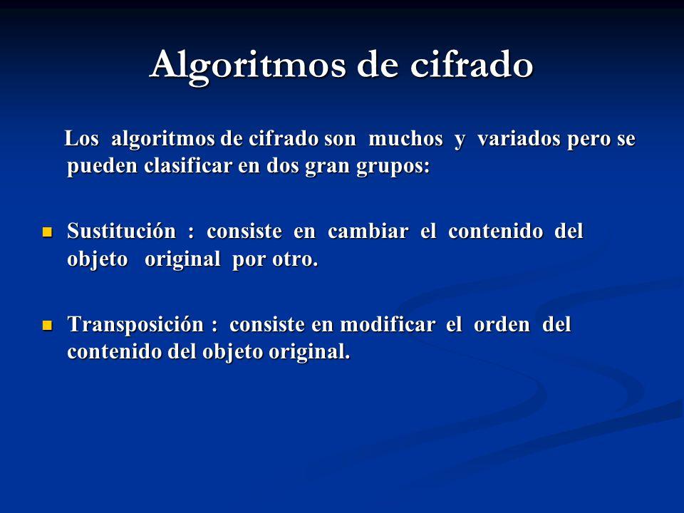 Algoritmos de cifrado Los algoritmos de cifrado son muchos y variados pero se pueden clasificar en dos gran grupos: