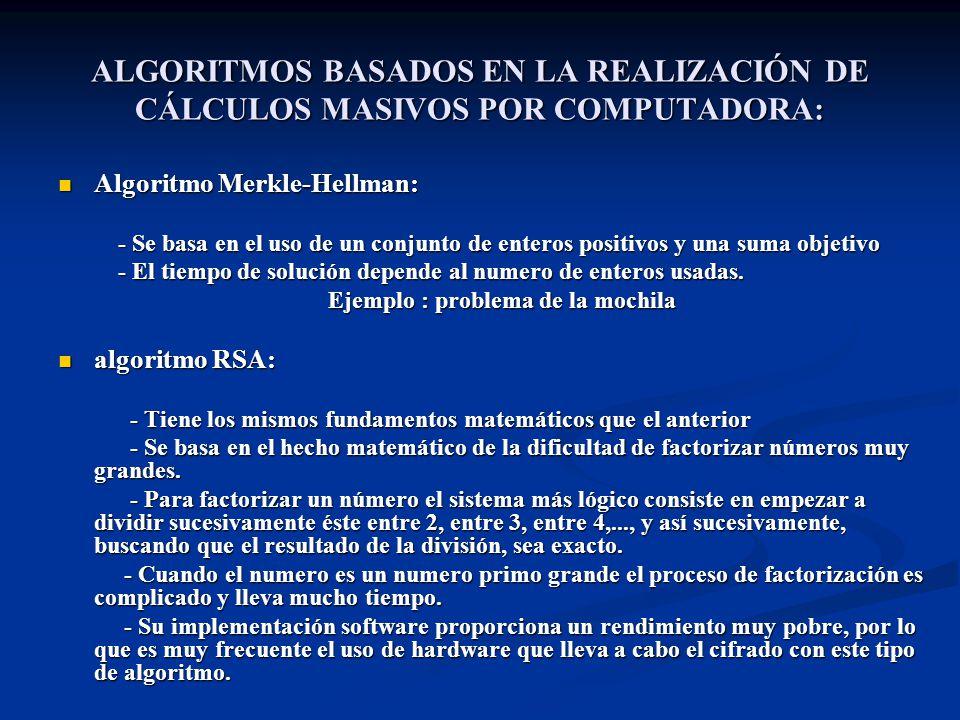 ALGORITMOS BASADOS EN LA REALIZACIÓN DE CÁLCULOS MASIVOS POR COMPUTADORA: