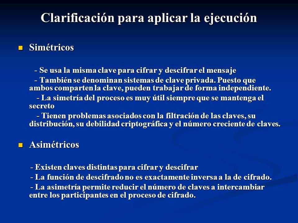 Clarificación para aplicar la ejecución
