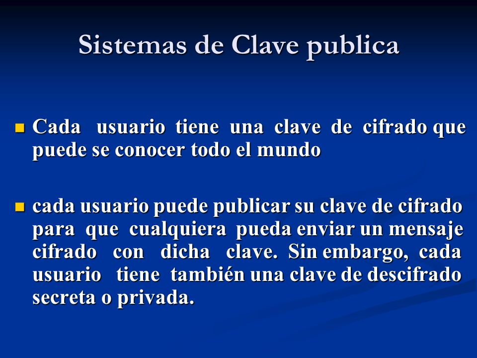 Sistemas de Clave publica