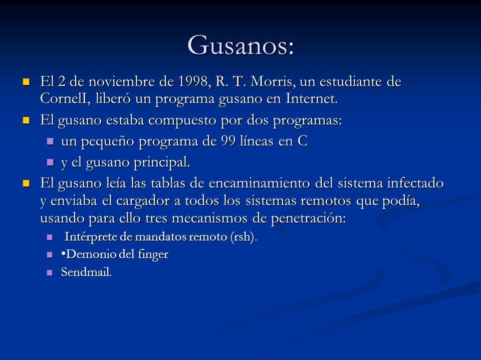 Gusanos: El 2 de noviembre de 1998, R. T. Morris, un estudiante de CornelI, liberó un programa gusano en Internet.