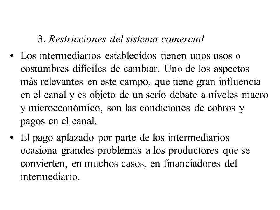 3. Restricciones del sistema comercial