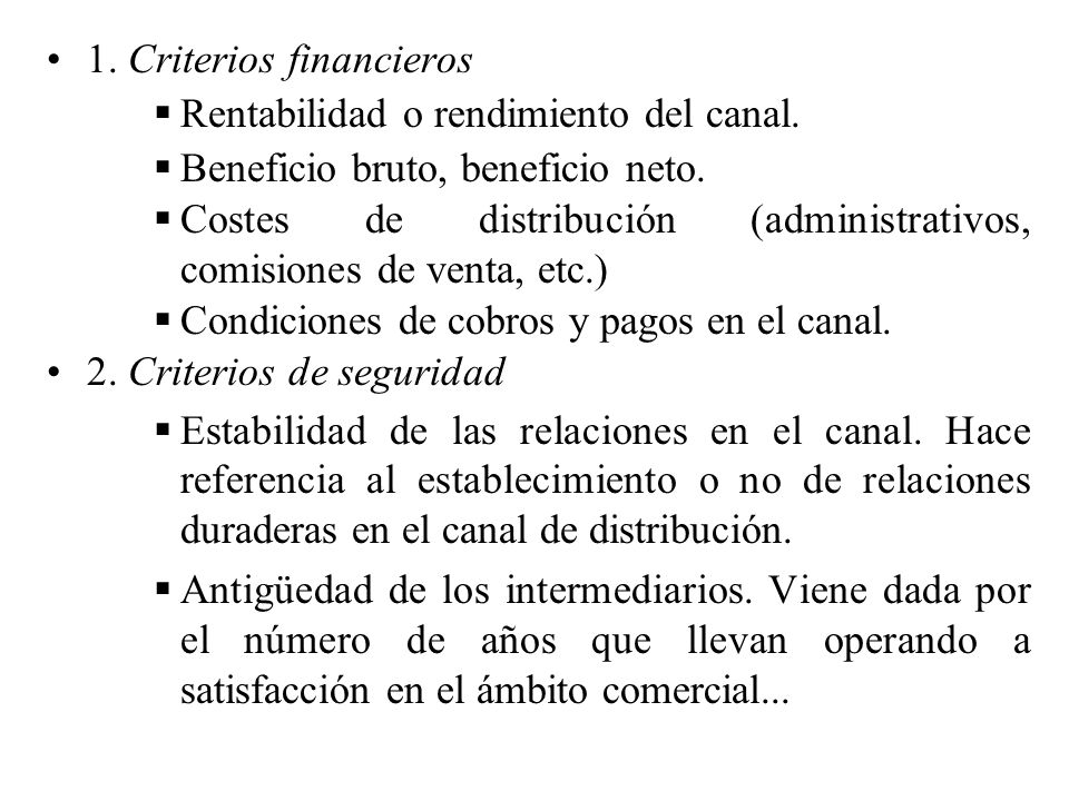 1. Criterios financieros