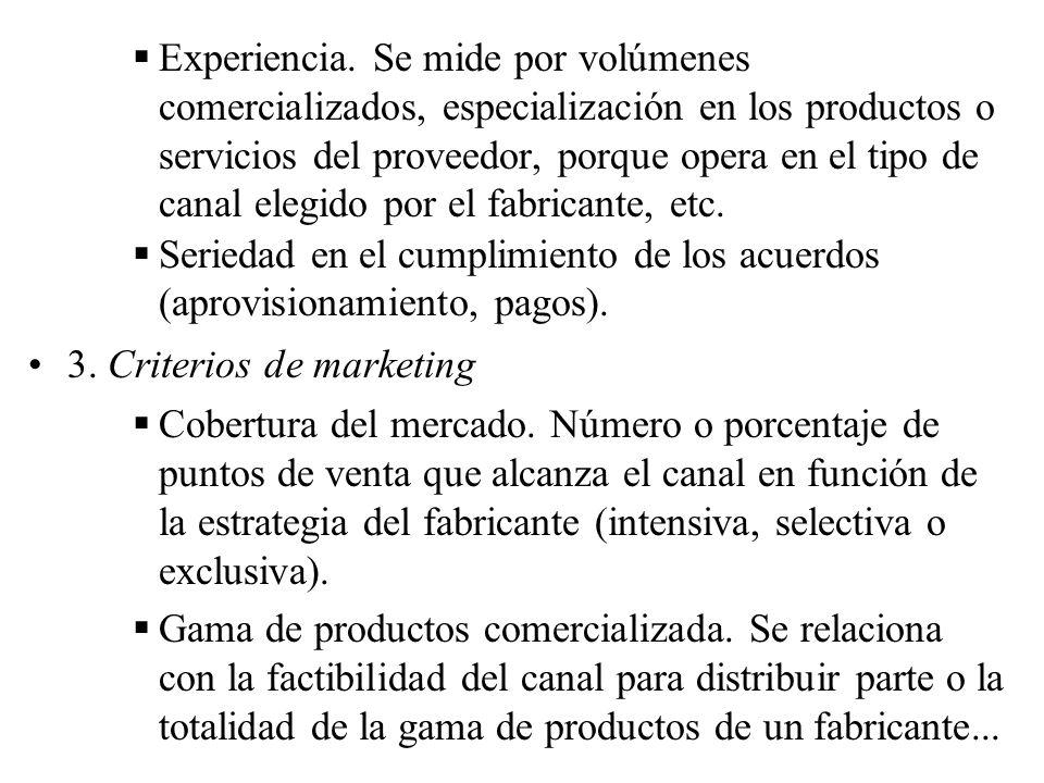 Experiencia. Se mide por volúmenes comercializados, especialización en los productos o servicios del proveedor, porque opera en el tipo de canal elegido por el fabricante, etc.