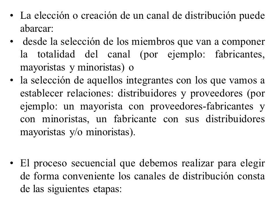La elección o creación de un canal de distribución puede abarcar: