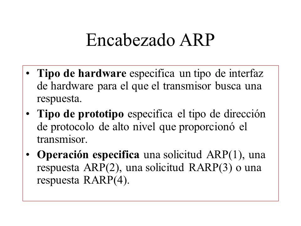 Encabezado ARP Tipo de hardware especifica un tipo de interfaz de hardware para el que el transmisor busca una respuesta.