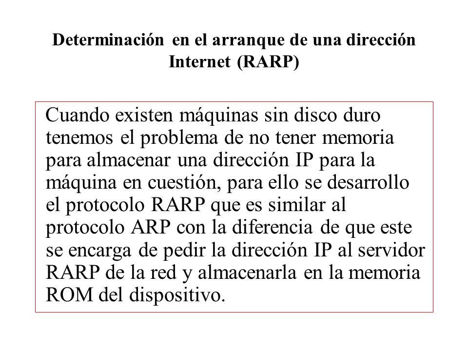 Determinación en el arranque de una dirección Internet (RARP)