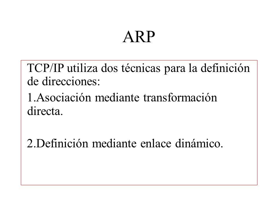ARP TCP/IP utiliza dos técnicas para la definición de direcciones: