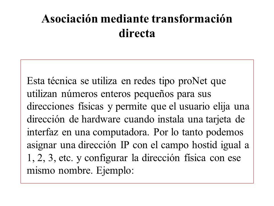Asociación mediante transformación directa
