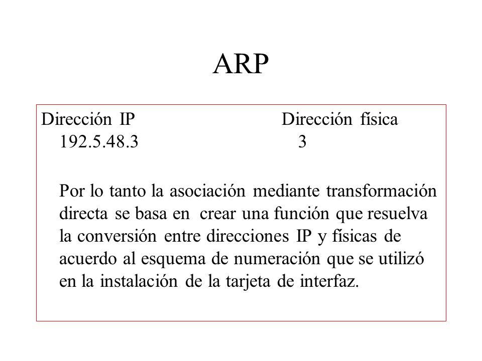 ARP Dirección IP Dirección física 192.5.48.3 3