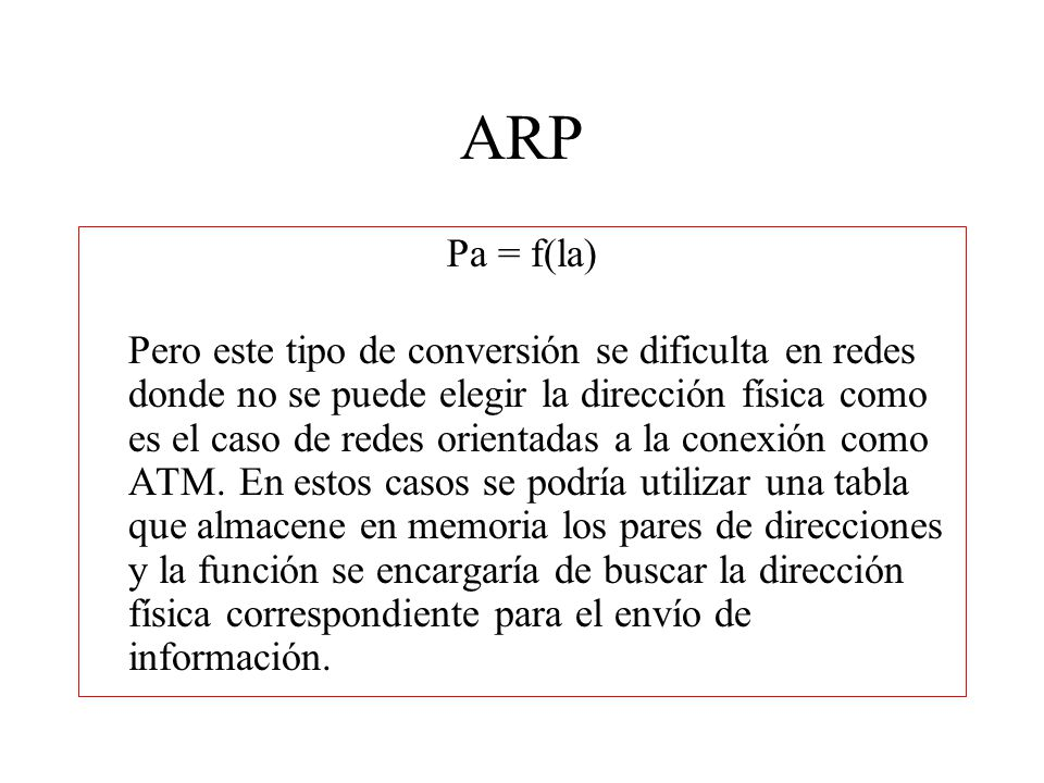 ARP Pa = f(la)