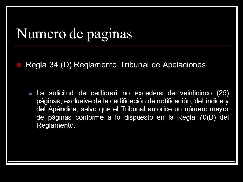 Numero de paginas Regla 34 (D) Reglamento Tribunal de Apelaciones