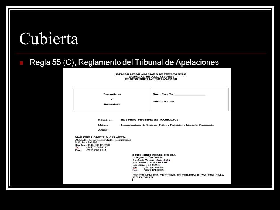 Cubierta Regla 55 (C), Reglamento del Tribunal de Apelaciones