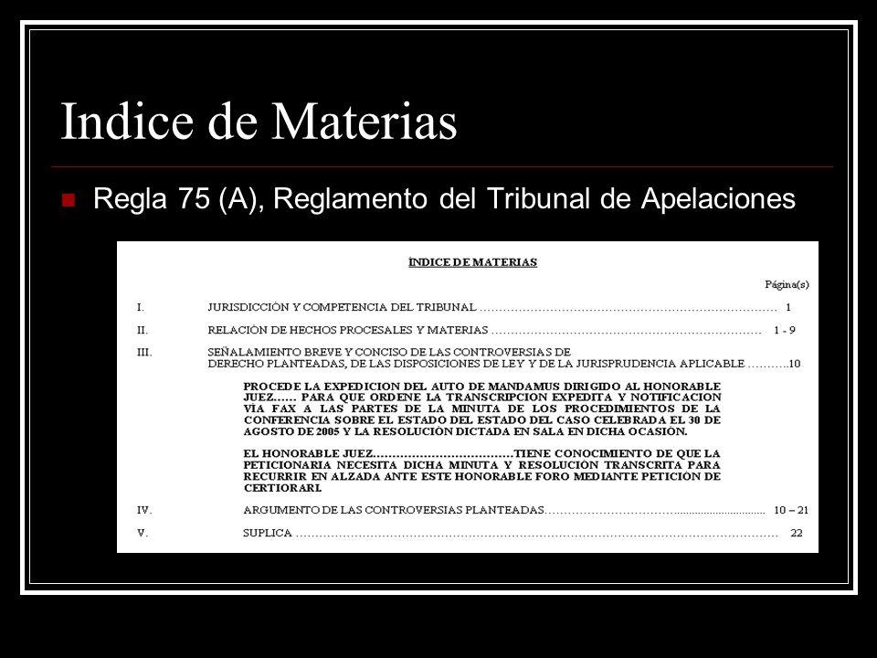 Indice de Materias Regla 75 (A), Reglamento del Tribunal de Apelaciones