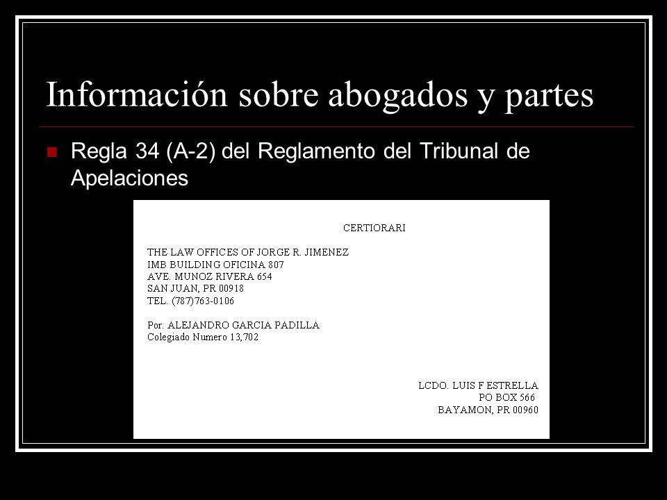 Información sobre abogados y partes