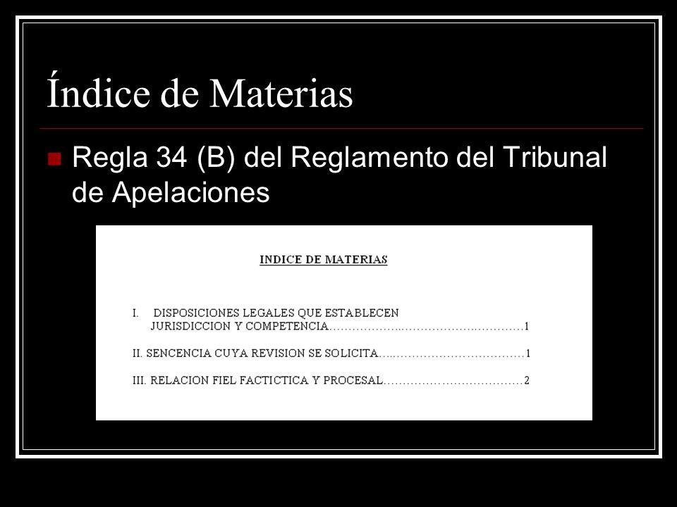 Índice de Materias Regla 34 (B) del Reglamento del Tribunal de Apelaciones