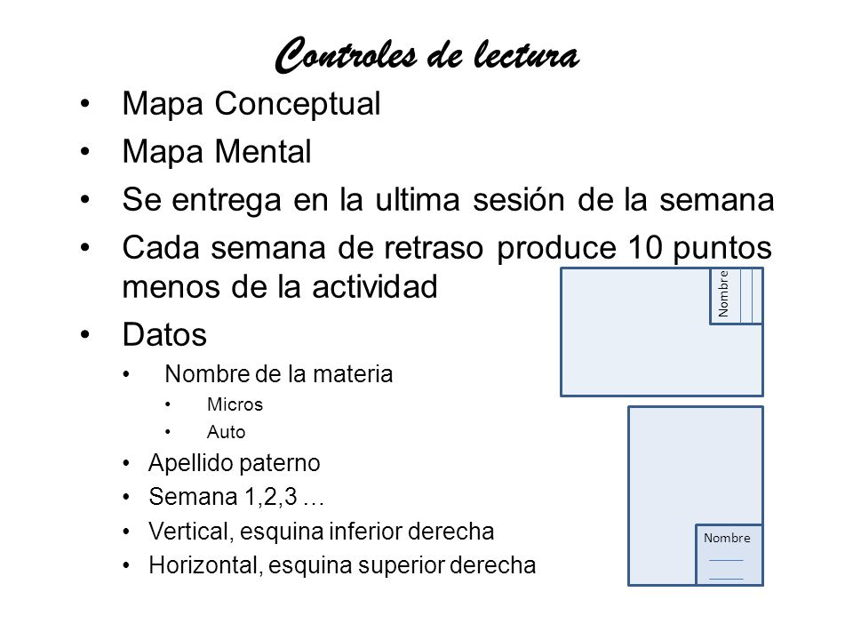 Controles de lectura Mapa Conceptual Mapa Mental