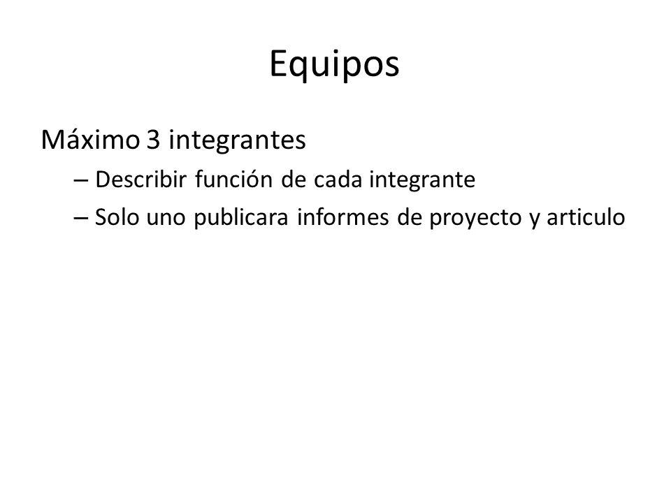 Equipos Máximo 3 integrantes Describir función de cada integrante