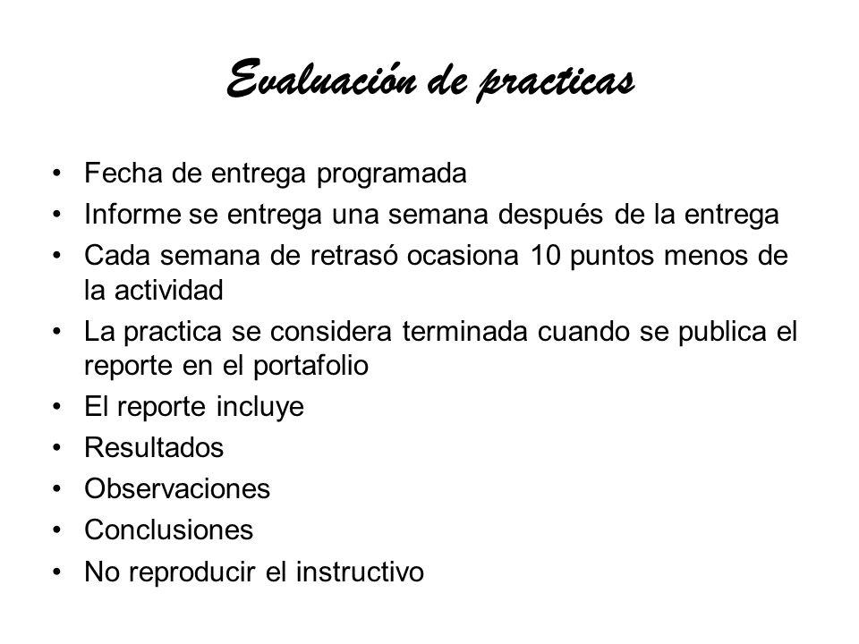 Evaluación de practicas
